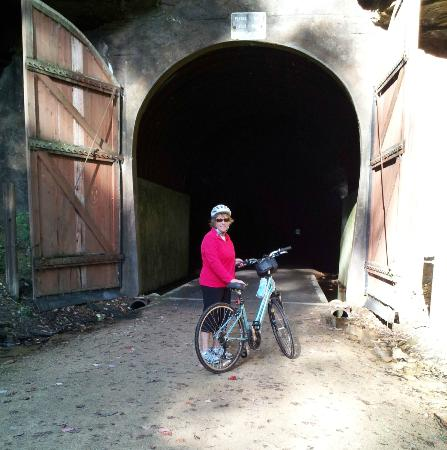 Elroy-Sparta State Trail: Entering first tunnel 9 miles outside of Kendal.  You need a flashlight and you must walk.
