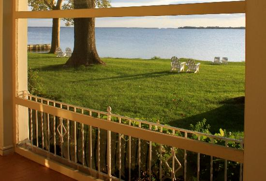 Sandaway Waterfront Lodging Suites and Beach: View from a Waterfront Queen Room & Porch at Sandaway in Oxford, MD.
