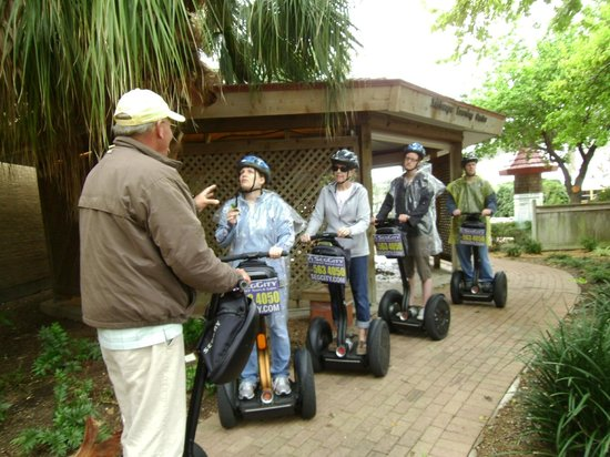 SegCity Guided Segway Tours: Tim at Xeriscape Garden in front of Corpus Christi Science and History Museum