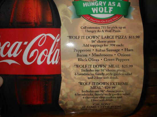 Great Wolf Lodge: Menu for Hungry Like A Wolf