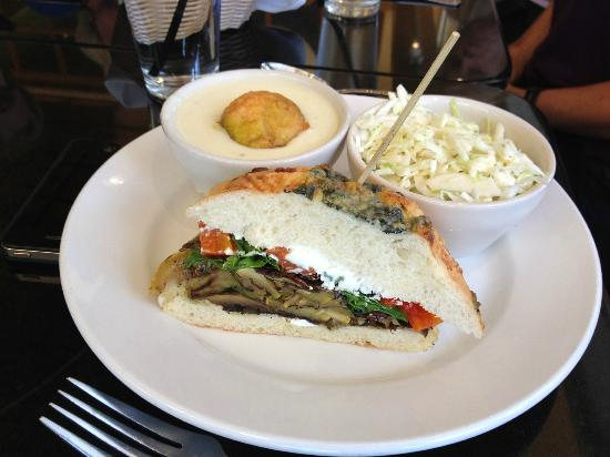 Buckhead Bread Company & Corner Cafe: 1/2 sandwich of portebello and grilled vegetable with cream of potato soup