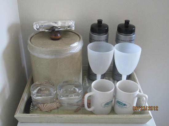 The Sand Castle : In room drinkware/no paper or plastic here