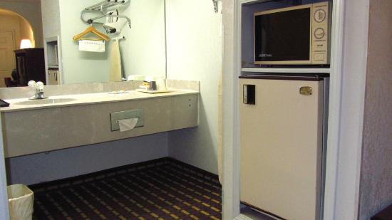 Econo Lodge & Suites: Sink and weird fridge and microwave