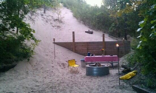 Petoskey, MI : the dunes make three walls of my camp!