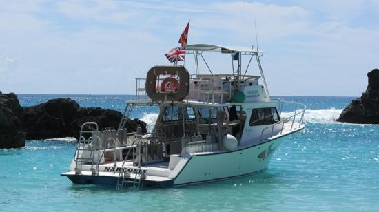 Fairmont Southampton: Dive boat anchored at the private beach