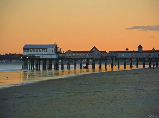 Normandie Oceanfront Motor Inn: Old Orchard Pier in the early morning in September, (this is a zoom) from the front of the Inn