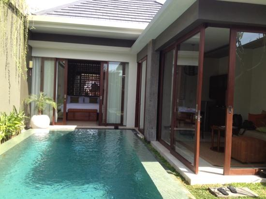 Seminyak Icon: living area and separate bed/bath