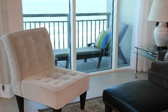 Mar Vista Grande: view from 912 living room to balcony & chaise lounge