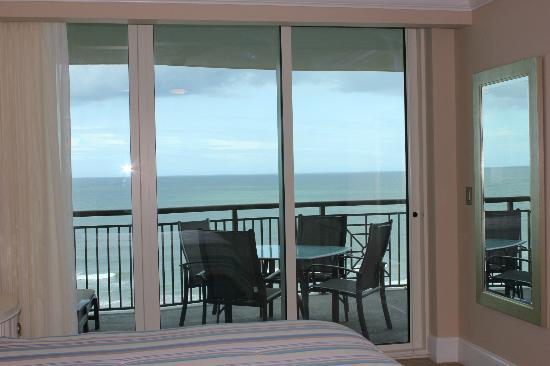 Mar Vista Grande: view from 912 master bedroom to balcony table & ocean