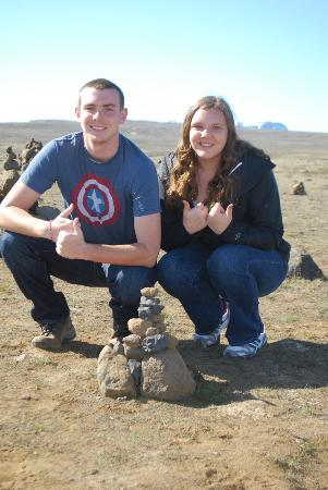 Thingvellir National Park: With one of the many cairns they built throughout Iceland.