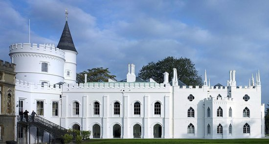 Twickenham, UK: The extraordinary south front of Strawberry Hill