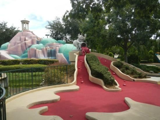 Disney's Fantasia Gardens Miniature Golf Course: Uphill into the spilled paint