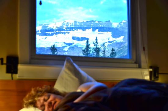 Deer Lodge: glacier above lake louise from the room