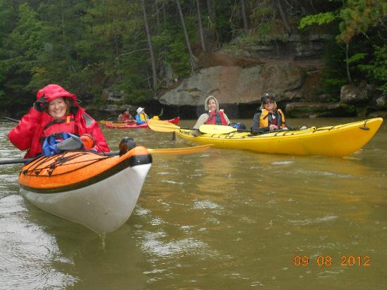 Lost Creek Adventures: As soon as we hit the water. Rain. Still a great time!!