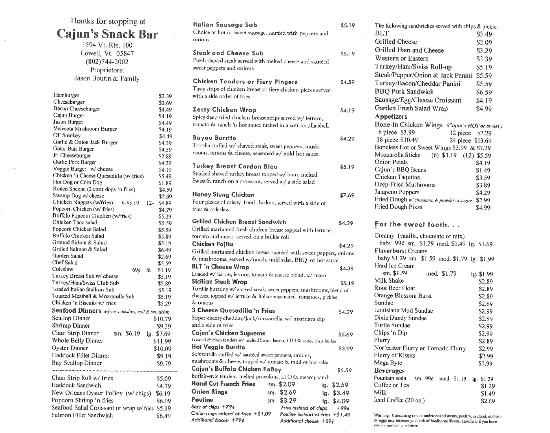 Cajun's Snack Bar: Cajun's Menu