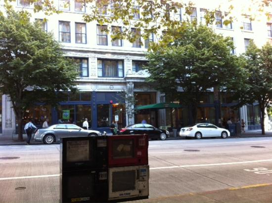 View of front of hotel from across street at a seattle 39 s for 7 salon downtown seattle
