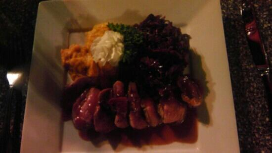 Bistro Mediterranean & Tapas Bar: Duck breast with raspberry sauce, sweet potato confit, red cabbage,