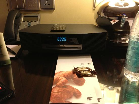 JW Marriott Hotel Beijing: Bose wave radio CD player in double bed room in 3/2012