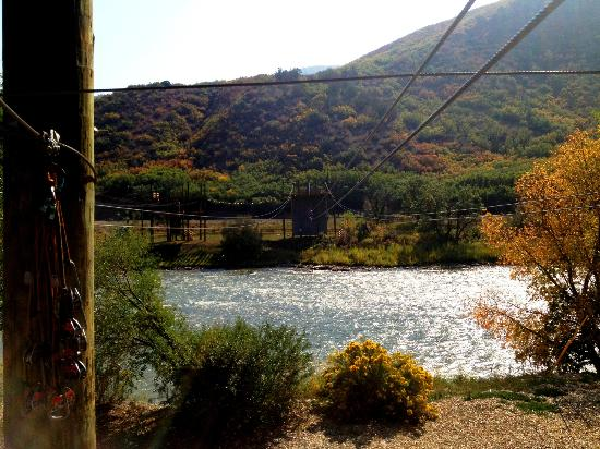 Zipline across the river and back at Glenwood Canyon Resort