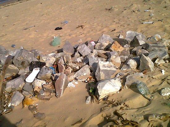 Catembe Gallery Hotel: litter on the beaches around the ferry side