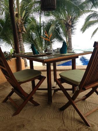 Playa Escondida: next to pool overlooking the beach