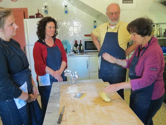 "In Campagna Cooking Classes: ""This is the way it is done!"" Letizia with three rapt pupils."