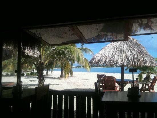 Cozy Corner: view of the beach from the restaurant / bar area