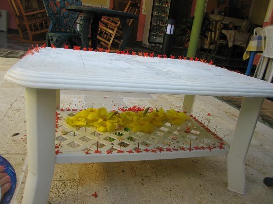 Pedrito Hostal: The flower table made by Pedro's younger daugther