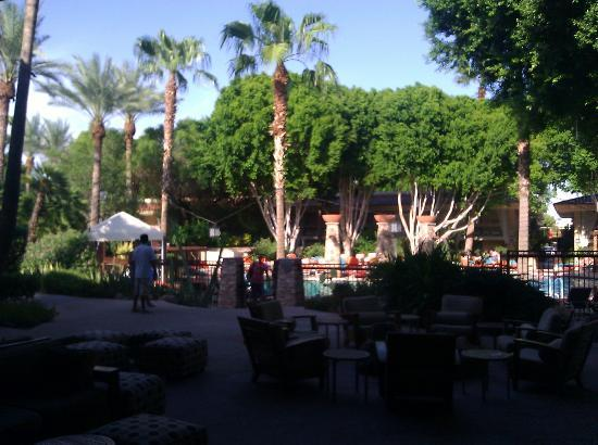 FireSky Resort & Spa: View of the courtyard area including the pools, taken in the morning.