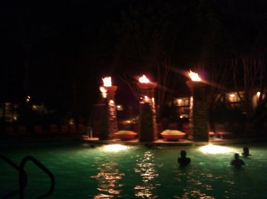 FireSky Resort & Spa: nighttime view of the main pool and the fire/water fountains
