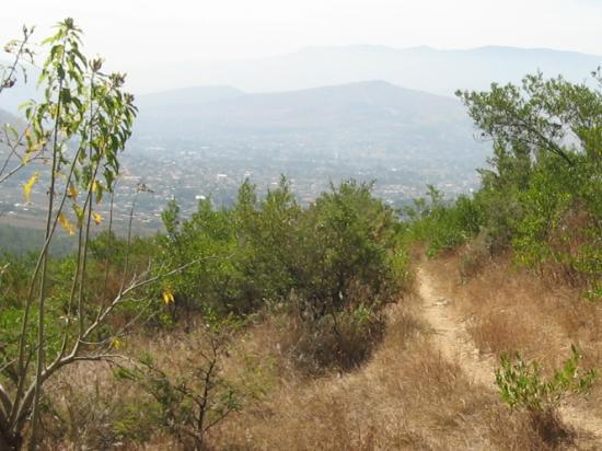 Mountain Bike Oaxaca: The single track ahead, with Oaxaca Valley in the distance