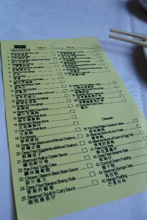 Imperial Chinese Seafood Restaurant : ここから選んで注文