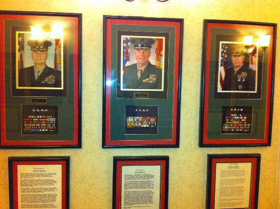 Marines Memorial Club Hotel: sample of Marine photos and bios in the hall outside my room