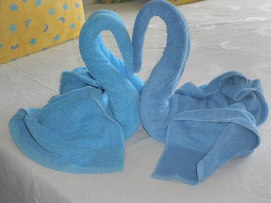 Melia Cayo Santa Maria: Towel art by Arielys and Yanelis - def one of the bright spots :)