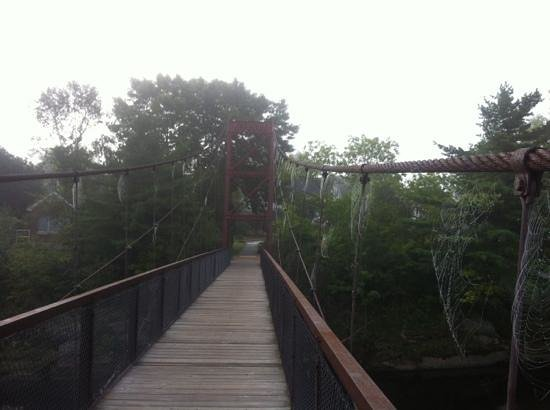 Topsham, ME: on the swinging bridge