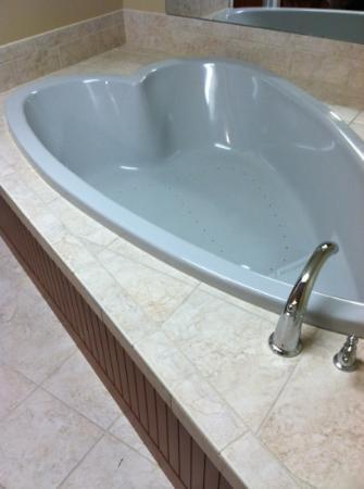 Howard Johnson of Traverse City: we had no window, but hey, why not have a heart shaped tub.