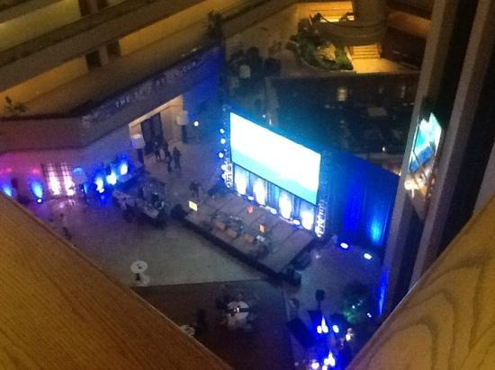 The Westin Chicago Northwest: the stage in the lobby - you cannot fathom how loud this is!