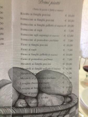Trattoria da Antonella: menu