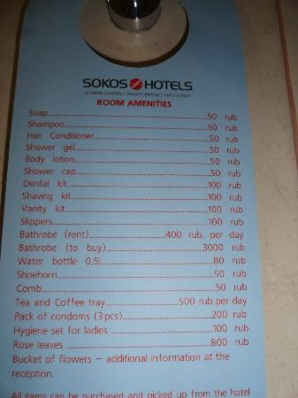 Solo Sokos Hotel Vasilyevskiy: Lista de precios de ammenities a set 2012
