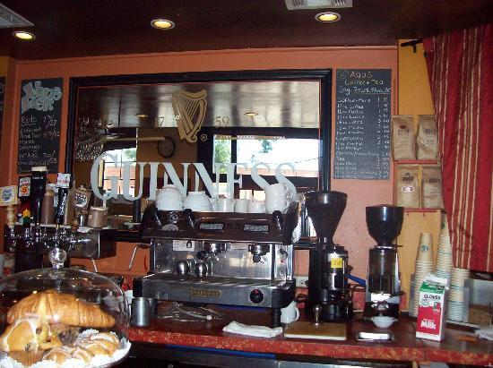 Aqus Cafe: Behind the Bar, Espresso and Beer Taps