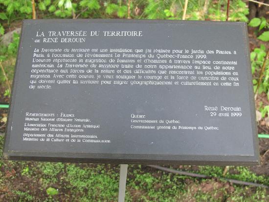 """Les Jardins Du Precambrien : Explications sur cette sculpture intitulée """" la traversée du territoire"""" et qui a été exposée à"""