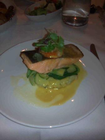 Regent Room: Salmon on prawn and coriander mash