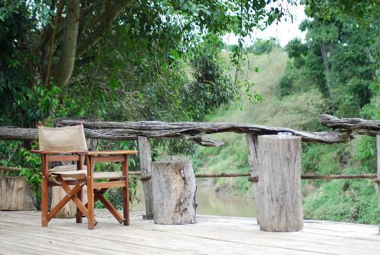 Mara Explorer Camp: The deck over looking the river where we had many Tuskers