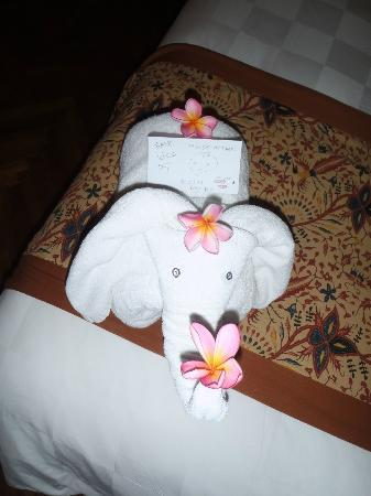 Padma Resort Legian: a cute little elephant left by one of the cleaners that my hubby had befriended, it was his last