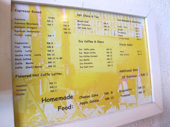 Mods Cafe: Menu