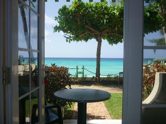 Coral Mist Beach Hotel: looking out of patio door