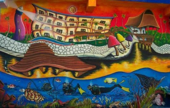 Blue Angel Resort: The now famous Blue Angel mural!