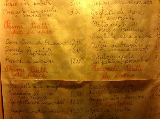 Antica Trattoria Bandierette: When the menu looks like this, it is generally a good sign!
