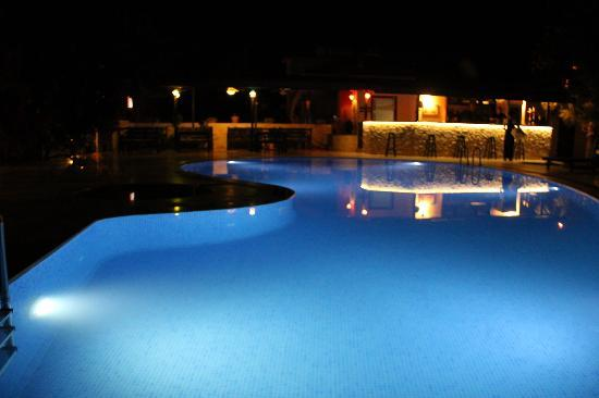 Dalyan Murat Pasha Mansion: The pool by night- you can still swim if you want to!