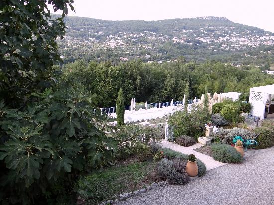 """Le Relais du Peyloubet : vue de """"notre"""" terrasse avec piscine en contrebas"""